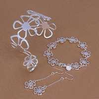 Lose Money!!925 Silver Jewelry Set,Fashion Sterling Silver Jewelry Flower Bangle&Bracelet&Earring&Ring SMTS235