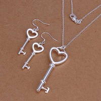 Lose Money!!925 Silver Jewelry Set,Fashion Sterling Silver Jewelry Heart-shaped Key Necklace&Earring SMTS199