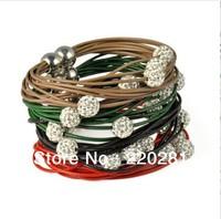 PU Shamballa Jewelry Beads Real Leather Bracelet For Women 12 PC