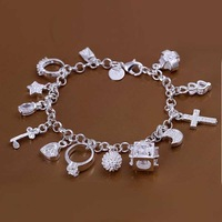 Lose Money!!Wholesale 925 Silver Bracelets & Bangles,925 Silver Fashion Jewelry With 13 Charms Bracelet SMTH144
