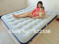 Express delivery Free shipping double size inflatable flocking airbed with electric pump and repair
