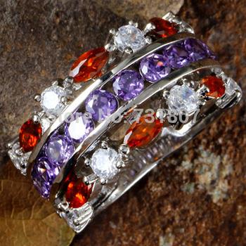 Wholesale Fancy Round Cut Amethyst Garnet White Topaz Silver Ring Size 6 Jewelry Fashion Ring For Women