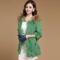 Free shipping New Fur coat rabbit  three quarter sleeve o-neck splice raccoon fur collar slim medium-long women's coat