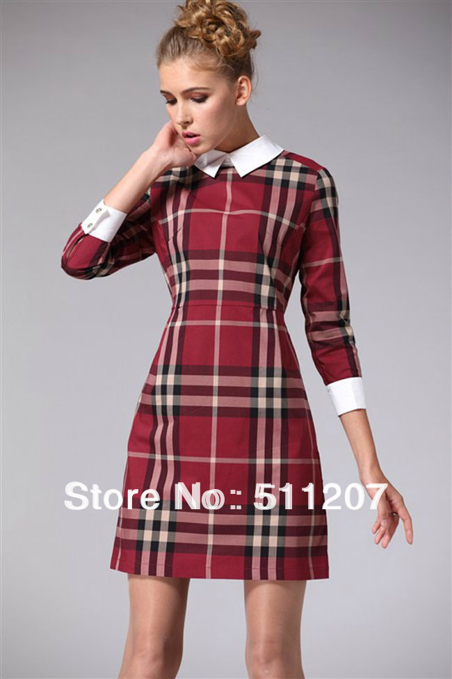 Mini Dress Khaki Red Plaid