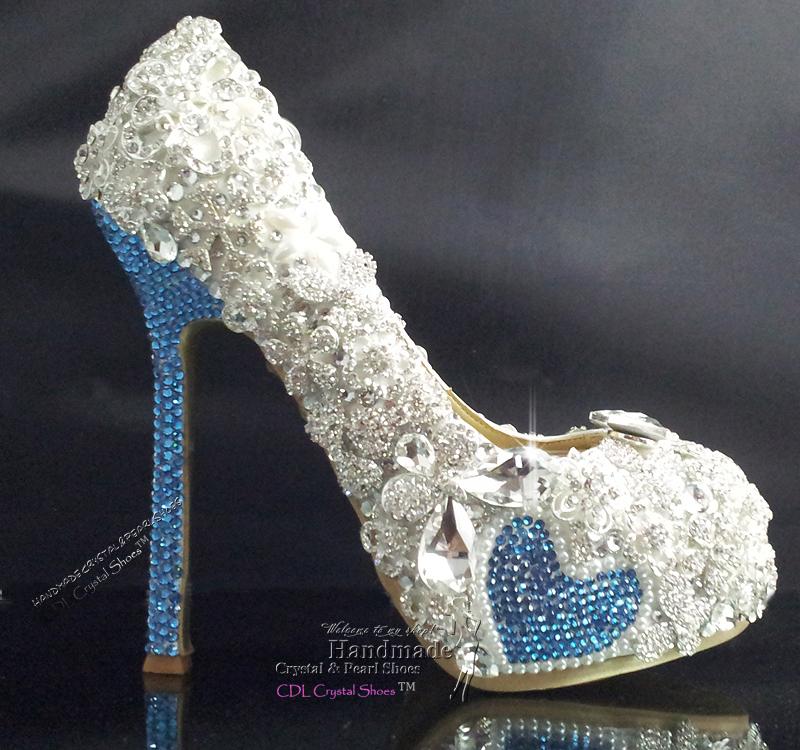 handmade sky blue and rhinestone bridal shoes