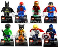 8pcs Super Heroes Avengers Iron Man Hulk Batman Wolverine Thor plastic Building Block Sets ninja toys Chima toy