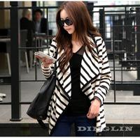 2014 Fashion Women Clothing Long Sleeve Striped Peplum Autumn Casual Jacket Tops Cardigan Blouse Novelty S M L Free Shipping 521