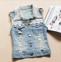 new 2014 denim vest female coat girl jean vest fashion sleeveless jacket waistcoat women lace the waistcoats jeans jacket