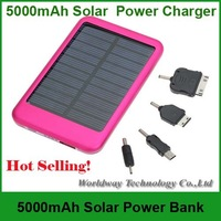 DHL Free Shipping 50PCS/LOT 5000mAh Solar Charger Portable USB Solar Power Bank Charger For Mobile Phone MP3 MP4