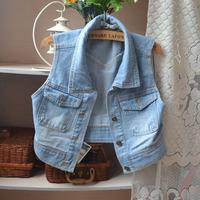 jean vest blue jean jackets women waistcoat denim vest new 2014 vests the coat autumn casual dress clothing