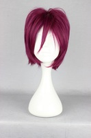 Free shipping High Quality Top Sale 30cm short rose red  Rin Matsuoka straight Cosplay Short Wig +Free Wig Cap