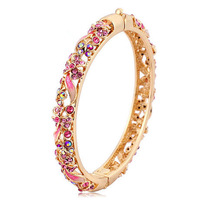 Chinese Traditional Cloisonne Bracelet National Trend Gold Plated Crystal Vintage Hand Ring Party Necessary Perfect Gift