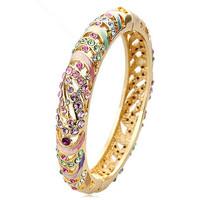Cloisonne Bracelet Chinese Traditional Handicrafts Enamel Cutout Crystal Bracelet Chinese Classic Bangles