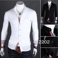 2013 New Dress Fashion Quality Long Sleeve Shirt Men.Korean Slim Design,Formal Casual Male Dress Shirt.Solid Color.Stripe A20