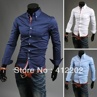 New Arrival free shipping with tracking number men's shirts Slim fit stylish Dress 2013 long Sleeve Shirts size M-XXXL 9007