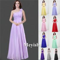 ZJ0030 purple lavender Grape pink chiffon peach color one shoulder new fashion 2014 junior maxi bridesmaid dress long