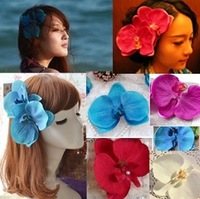 Free Shipping Bohemian beautiful butterfly orchid headwear phalaenopsis hair accessory Travel holiday beach photograph HDL1