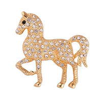 Free shipping,Exqusite Shiny Crystal Horse Brooch Pins for Women Corsage 18K Gold Plated Animal Brooches