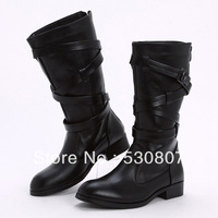 High pointed toe genuine leather tidal new arrival male boots fashion elevator martin boots