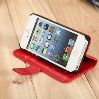 High quality Leather Case for iphone 5 5g Wallet with Stand Flip cover black white Card Holder holster free shipping