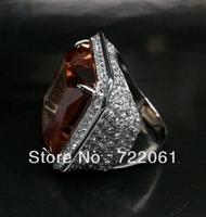 Free mail 925 silver inlaid big gem 20 x20mm orange crystal princess square round ring microscope exaggerated fashion