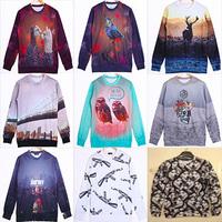 free shipping men/women Funny print 3D O-Neck Sweaters animal sweatshirt hoodies Men's Long sleeve Cotton sweatshirt S/M/L/XL