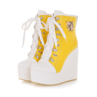 Free shipping 2013 women's autumn winter boots martin wedges boots fashion ultra high heels boots yellow sneakers for women 12