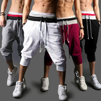 2X HK  Casual Loose Mens Sports Capri Cropped Harem Sweatpants Jogger Trousers Harem Hip Hop Shorts S/M/L/XXL for Xmas