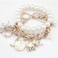 Korean fashion pendant small as a coin pearl double bracelet  fashion bangle bead bracelet