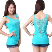 Ladie's Tank Tops Rhinestone With Back Hollow out free shipping W4009