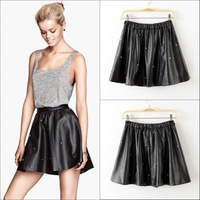 2013 European Women's Pu Leather Skirt Elastic Waist Pleated Puffle Skull Rivet Short Casual Skirts Free Shipping