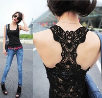 Fashion Lady's T-shirt sexy racer Camisole hollow out lace vest cotton tank Tops free shipping W4104