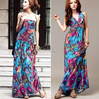 HK Free Shipping! Super Quality! Sale Alluring Halterneck V-Neckline Peacock Print Sleeveless Bohemian Long Maxi Dress Women M/L