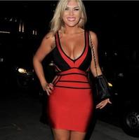 New High Quality Women Bandage Dress Celebrity Dresses Deep V Red & Black Bodycon Sexy Tank Elegant Party Evening Dress