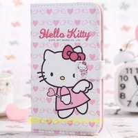 1 pcs fashion cute hello kitty cartton flip leather case cover  for Samsung Galaxy S4 i9500