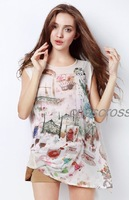 Wholesale&Retail Free Shipping Summer women's 2013 elegant fashion irregular loose oil painting print twinset chiffon shirt