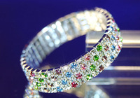 Free shipping Hot Fashion 3/4 Rows Crystal Rhinestone Wedding Bridal Bracelet Bangle Bling Wristband Women Jewelry Free Shipping