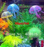 10pcs/lot New Cute Fluorescent Artificial Jellyfish Decoration Glowing Effect for Aquarium Fish Tank Ornament Bath Decor 18197