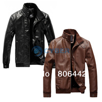 2013 Fashion Stand Collar Motorcycle Leather Clothing Mens Leather Jacket Male Outerwear 17391