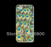 Elegant Peacock feathers Hard Cover Case for iPhone 4/4S cover for iPhone 5 5s 5c (#019) Custom Design 5pcs/lot Free Shipping