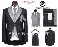 2014 high quality men's brand five pieces suit custom made suit wedding Dress Suit sets jackets+pant+tie+vest size:46-58 ks628