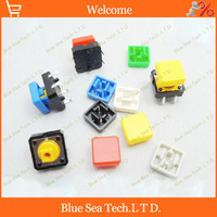 100sets Tactile Push Button Switch+button Cap A14,12*12*7.3MM Micro tact switch seven color Free Shipping
