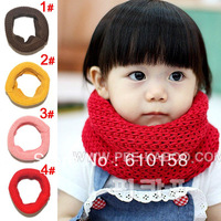 1pcs 100% cotton Children's Muffler Baby Winter Scarf Boy /Girl Knitted O-Scarf kids rings collar neck warmer B00002