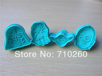 4pcs/set Free shipping New 3D Stamp Star Wars Set cake Cookie Cutter Fondant decorating tools