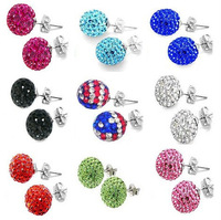 SME05  Free Shipping Silver 10MM Crystal Beads Stick Earrings Fashion Jewelry New Items  18 colors
