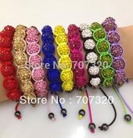 Min.Order ( $9.9 mixed) 10mm Gem Clay Beads Bracelets rhinestone Crystal Bracelets Shamballa Bracelets