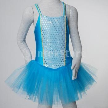 Free Shipping Girl Ballet Dance Dress Gymnastic Leotard Sequin Tutu 5-6 Yrs - Blue