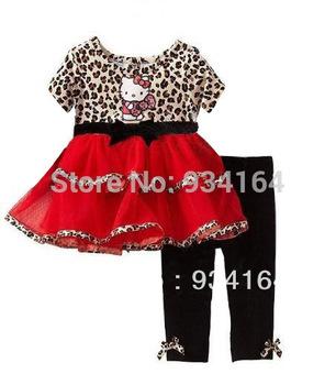 Big Promotion 2014 New Brand Child Girl Suit Leopard Print Patchwork Hello Kitty Layered Dress+Pants 2 Pcs Girl Set