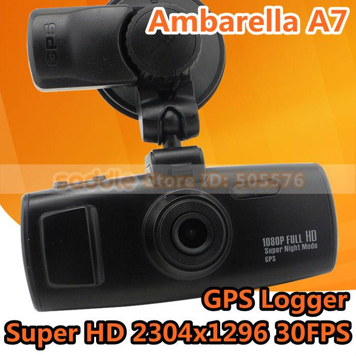 In Stock! Original Car DVR Recorder 3H2F GS6000 with Ambarella A7 + Super HD 2304 * 1296P 30FPS + GPS Logger + G-Sensor + WDR !(China (Mainland))
