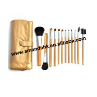 24set/lot  12 PCS golden high quality Professional Makeup Cosmetic Brush set Kit Case wholesale